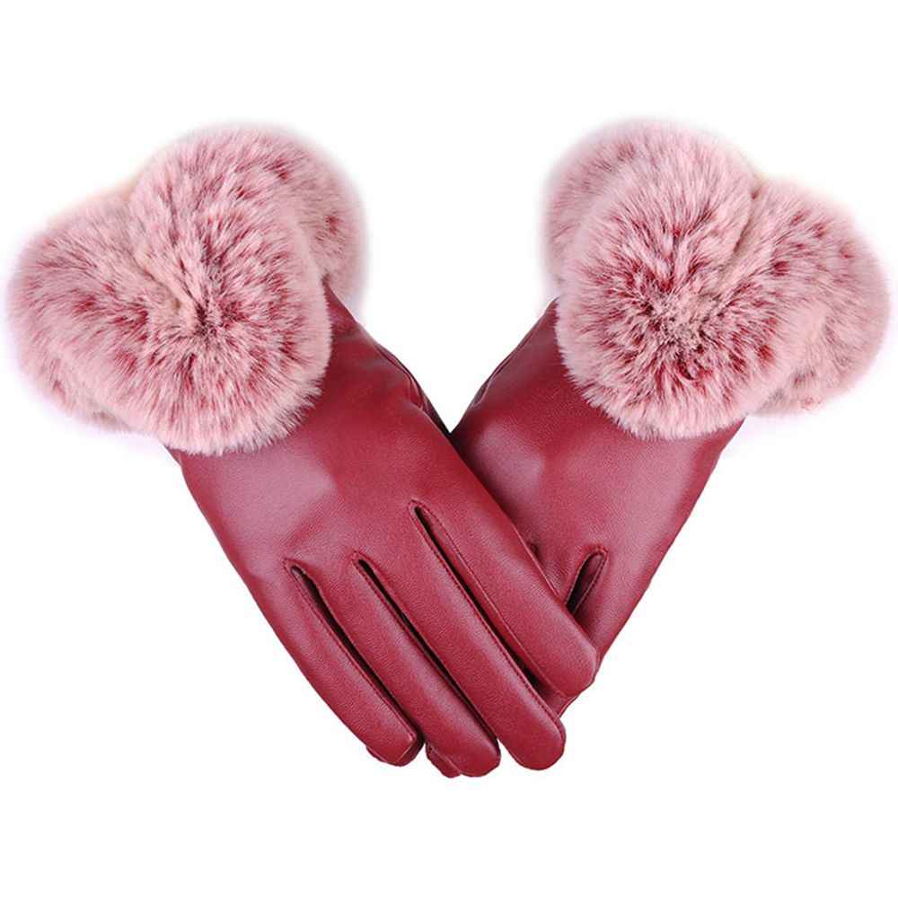 Fashion Warm Winter Gloves Women Leather Gloves Fur Wrist Mittens Touch Screen For Driving Ski Cycling Sports Gloves
