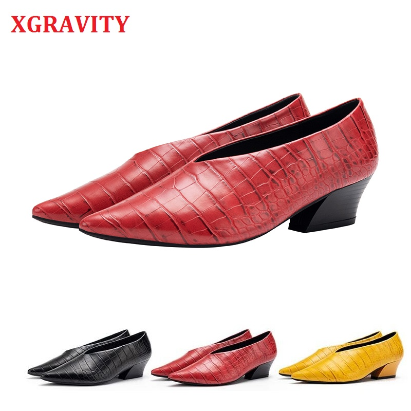 XGRAVITY New Autumn Snakeskin Designer Vintage Evening Shoes Ladies Fashion Pointed Toe V Cut Woman High Heel Pumps Bridal A208