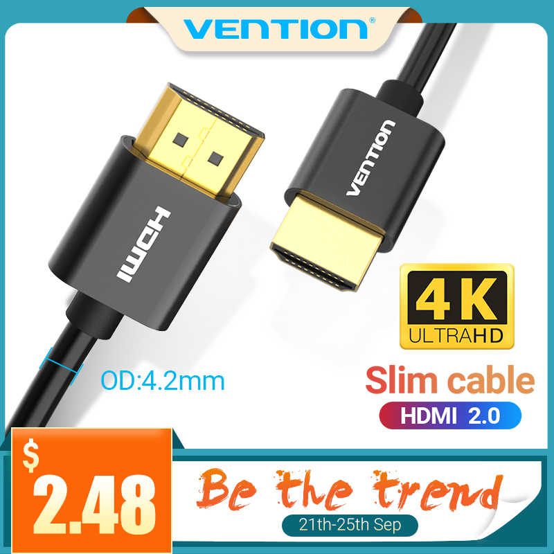 Ventie Hdmi Kabel 4K Slim High Speed Hdmi Naar Hdmi 2.0 Kabel Voor Hdmi Splitter PS4 PS3 Hdtv Tv mi Box Projector 2.0 Hdmi Kabel