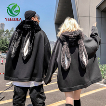 2019 Autumn Winter Plush Hip Hop Hoodie Couple Rabbit Ear Personality Fashion Black Sweatshirt Long Sleeve Men Women Top
