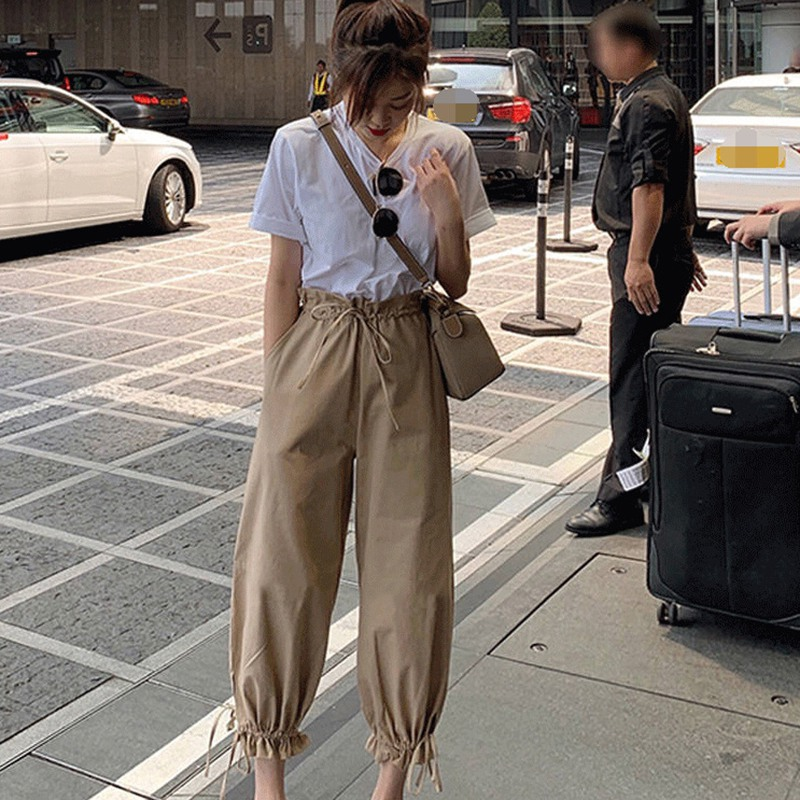 Korean Style Women Khaki Harem Pants Solid Color High Waist Autumn Casual Streetwear Gothic Loose Preppy Trousers