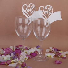 50pcs Romantic White Love Heart Table Mark Wine Glass Name Place Cards Wedding Party Decor Supplies