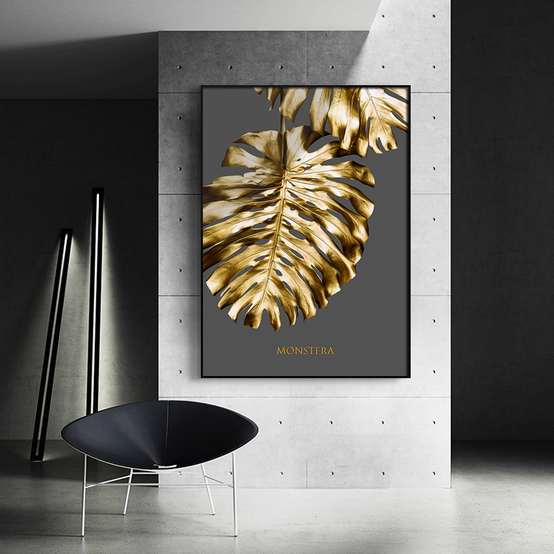 Nordic Golden abstract leaf flower Wall Art Canvas Painting Black white feathers Poster Print Wall Picture