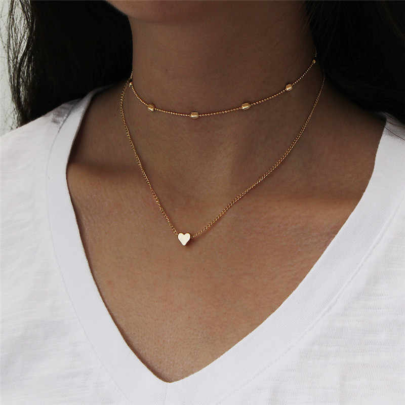 Simple Fashion Female Clavicle Pendant Peach Heart Multi-Layer Clavicle Neck Chain Necklace Heart-Shaped Pendant