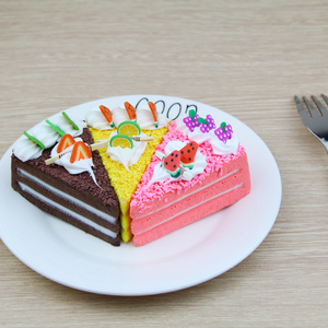 Image 2 - 3 pcs/6 pcs עוגת מזויף פירות עוגת דגם מודל עוגת תה שולחן קישוט מלאכותי פירות עוגות קינוח מזויף