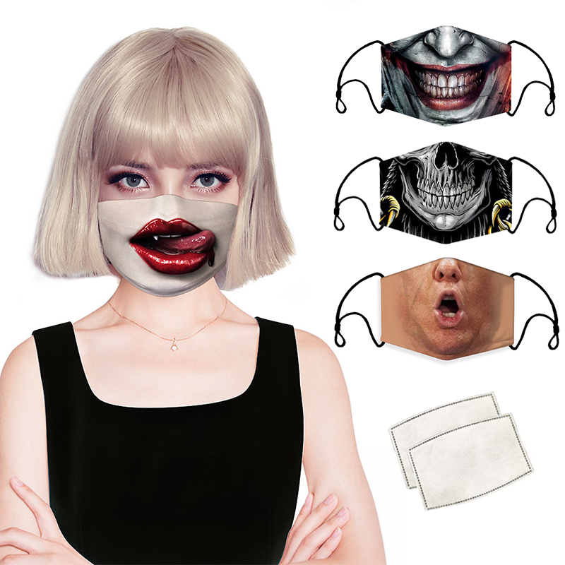 Adult Child Animal Color Printed Face Masks Fashion Fabric Protective Mask Skull Mouth Reusable Washable Kids Dust Filter Mask