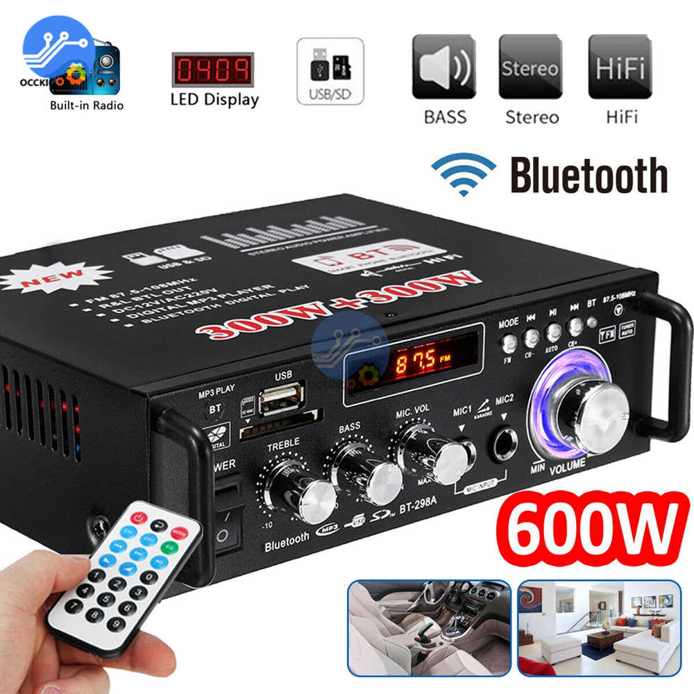 600W Digital Home Amplifiers Bluetooth Audio Subwoofer Sound System Amplifier HIFI Home Theater USB SD AMP