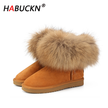 HABUCKN Top Fashion suede leather 100% Natural fox fur women short winter ankle snow boots for woman winter shoes Women Boots 2018 fashion natural cow suede split leather womans winter snow boots for women winter shoes warm fur high quality ankle boots