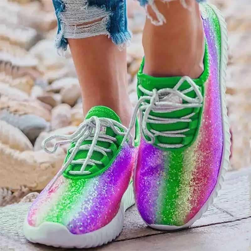 Women Sneakers Woman Running Shoes Female Vulcanized Women's Casual Flats Women Sequin rainbow colors Ladies Summer Plus Size|Women's Vulcanize Shoes| - AliExpress