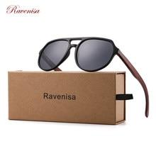 Ravenisa Wood Sunglasses Women UV400 Polarized Pilot Plastic Frame Sun Glasses fishing Driving Sunglasses