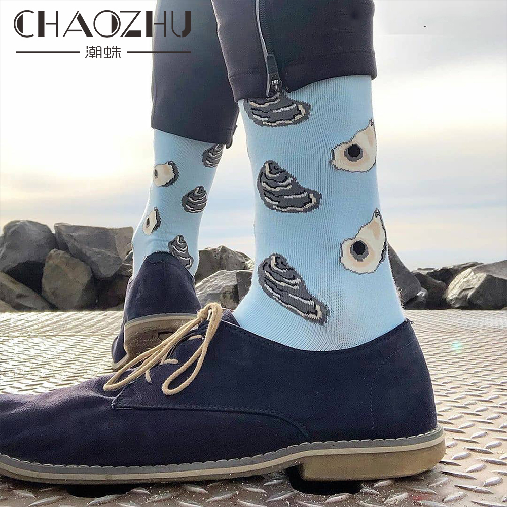 CHAOZHU Calcetines Nosotros Men's Fashion Funny Long Socks Shrimp Cod Black Jacquard Male Crew Sox Cool Cotton Knitting Casuals