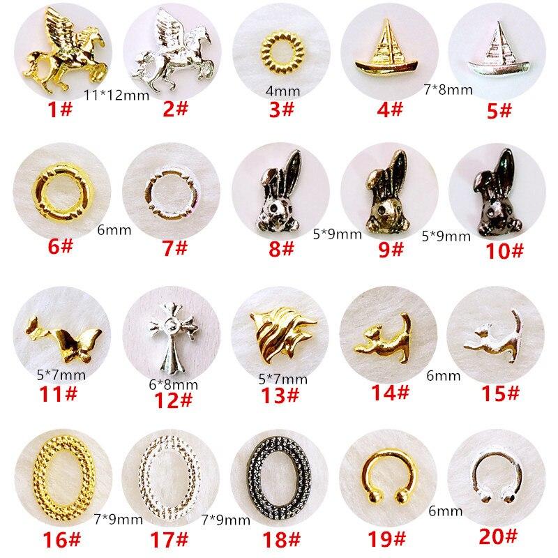 50 шт./упак., японские 3D украшения для ногтей, металлические аксессуары для ногтей, детали для ногтей в виде милых Рыбок, кроликов, подвеска «с...