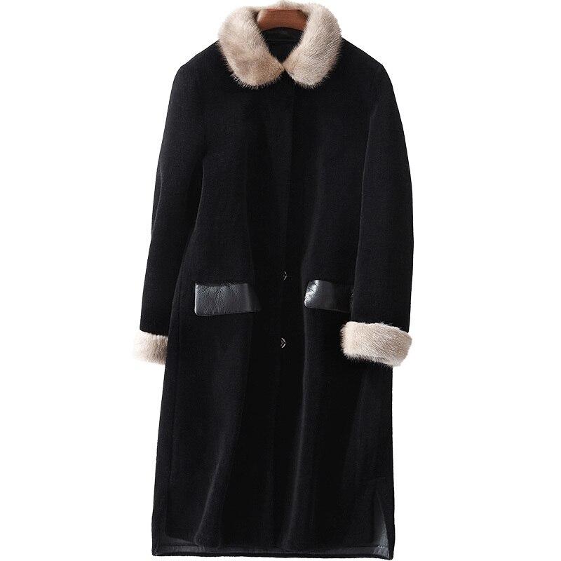 Mink Fur Collar Wool Jacket  Autumn Winter Women Clothes 2020 Real Fur Coat Korean Vintage Sheep Shearling Abrigo Mujer ZT3194