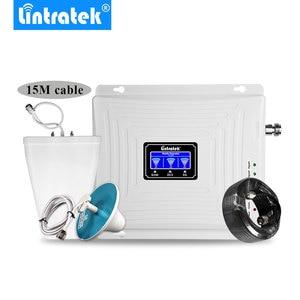 Image 1 - Lintratek إشارة الداعم 2G 3G 4G LTE 1800mhz 2100mhz 900mhz GSM DCS WCDMA ثلاثي الفرقة الخلوية مكرر إشارة LCD الجيل الثالث 3G 4G مكبر للصوت