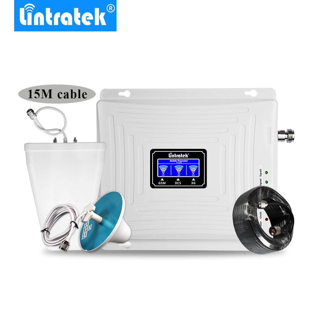 Lintratek Signal Booster 2G 3G 4G LTE 1800mhz 2100mhz 900mhz GSM DCS WCDMA Tri Band Cellular Signal Repeater LCD 3G 4G Amplifier