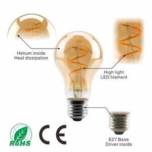 Image 3 - Lâmpada regulável de edison, 4w 2200k c35 t45 a60 st64 g80 g95 g125, espiral, filamento retrô iluminação decorativa de lâmpada