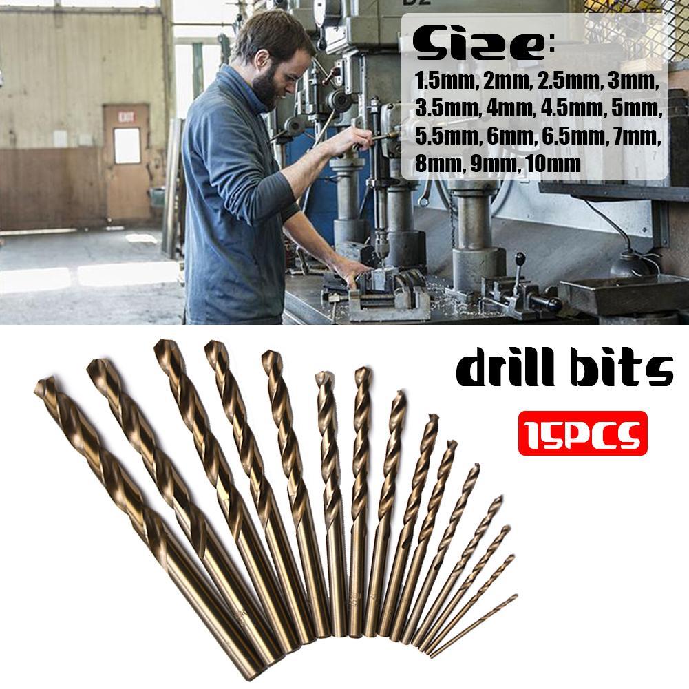15 PCS Drill Bit Set M35 HSS Cobalt Twist Drill Bits For Metal Steel 1.5-10mm High Speed Steel Power Tools Twist Drill Bit