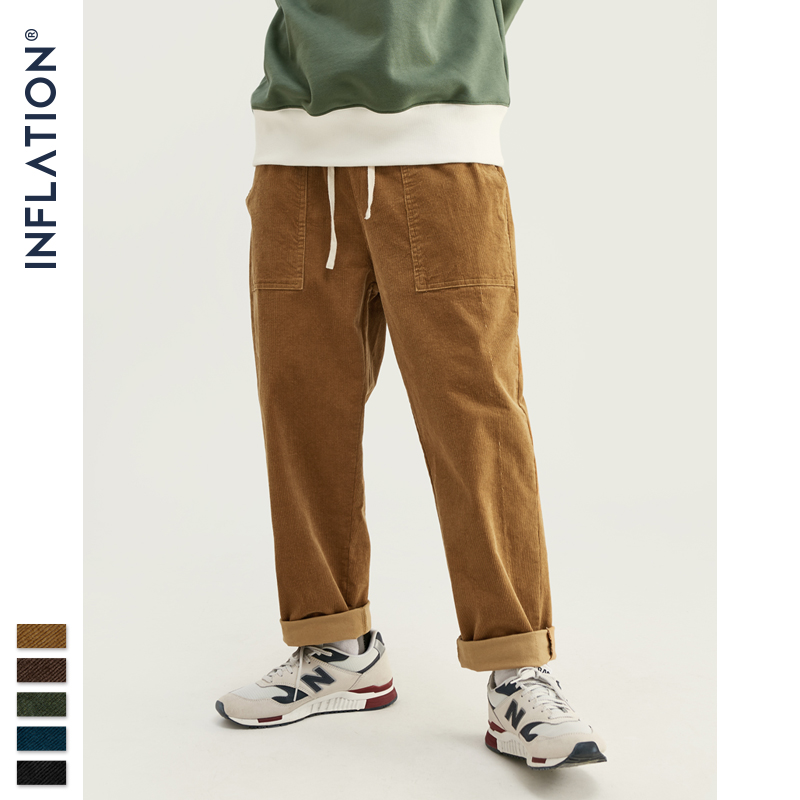 INFLATION 2019 Collection Men Casual Pants Wide Wale Men Corduroy Slacks Loose Fit Overalls Solid Color Men Corduroy Pant 93325W