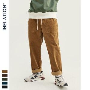 Image 1 - INFLATION 2020 Collection Men Casual Pants Wide Wale Men Corduroy Slacks Loose Fit Overalls Solid Color Men Corduroy Pant 93325W