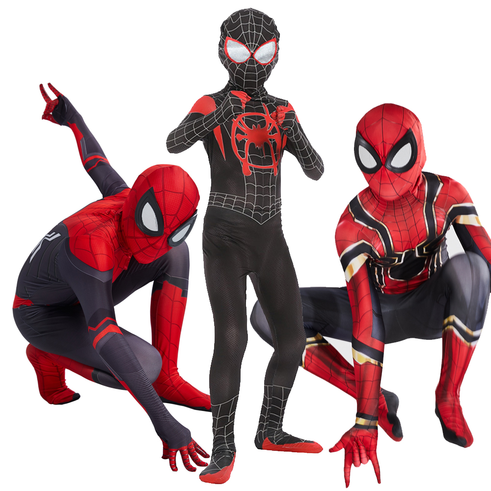 Spiderman Far From Home Costume Cosplay Peter Parker Zentai Suit Superhero Bodysuit Jumpsuit Halloween Costume For Kids Carnival