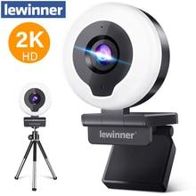 2K Webcam Lewinner Microphone Ring-Light Usb-Autofocus Teaching/gaming with Tripod Tripod