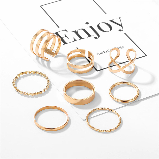 Original Design Gold Color Round Hollow Geometric Rings Set For Women Fashion Cross Twist Open Ring  Joint Ring Female Jewelry