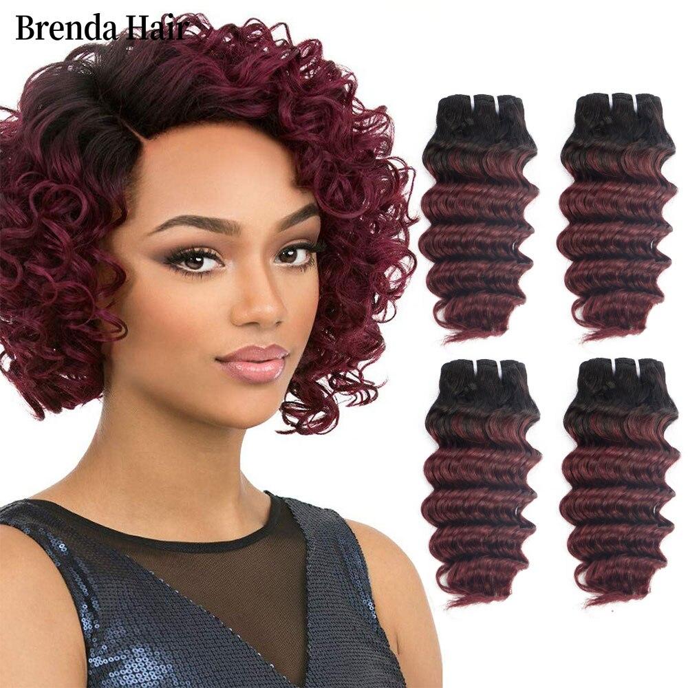 Brazilian Deep Wave Hair 4pcs/Lot 200g/Lot 8-12inch Pink/1b/27/ #27/1b/99j Remy Ombre Hair 100% Human Weave Bundles