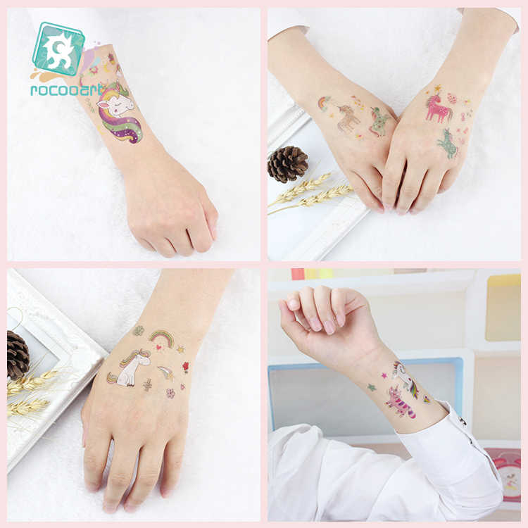 Rocooart 1 levha geçici dövme etiket renkli sahte dövme boynuzlu at flaş flaş Tatto su geçirmez küçük vücut sanat çocuk 25 tasarımlar