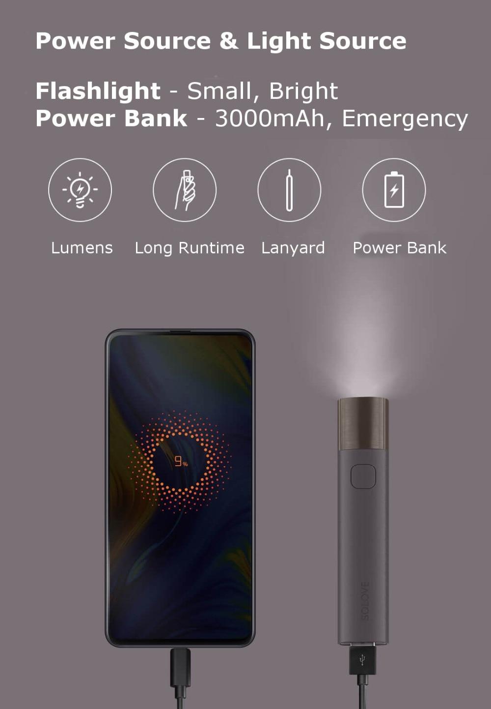 Xiaomi SOLOVE X3 USB Flashlight & 3000mAh Power Bank 6
