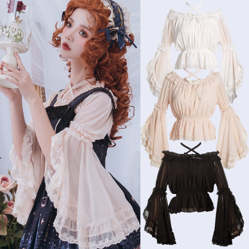 Sweet Lolita Shirt Vintage Lace Bowknot O-neck Flare Sleeve Cross Bandage Victorian Shirt Kawaii Girl Gothic Lolita Top Loli Cos