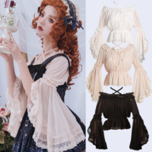 Lolita dulce camisa vintage de encaje bowknot cuello flare manga Cruz vendaje victoriana camisa chica kawaii gótico Top lolita loli porque