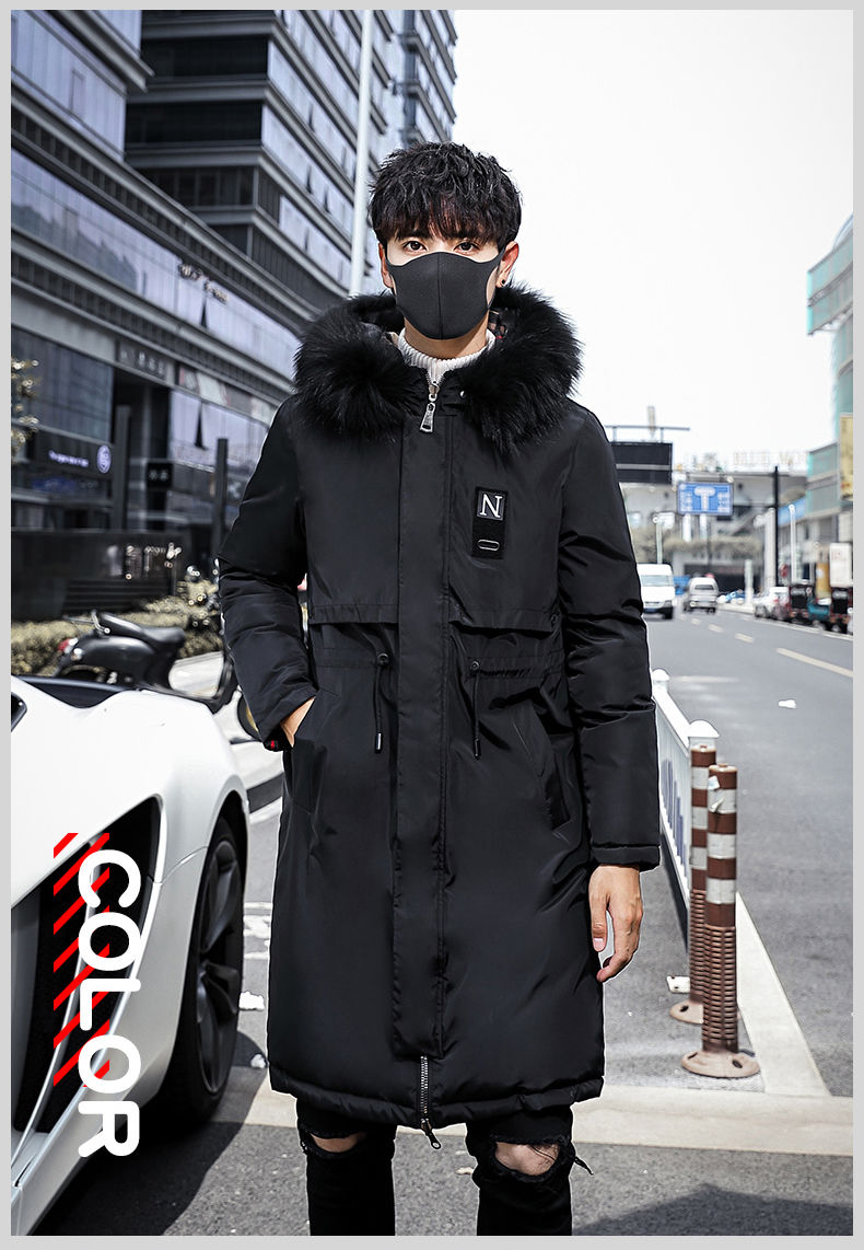 Fashion Winter Jacket Men Hooded Thicken Warm Parka Long Coat Casual Loose Mens Overcoat Cotton Padded