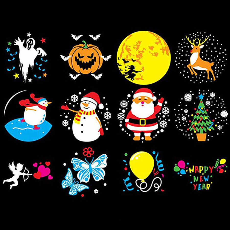 Thrisdar 12 Modello Di Natale Animata Proiettore di Luce Esterna di Paesaggio di Halloween Festa Di Compleanno di Movimento Proiettore Con Telecomando