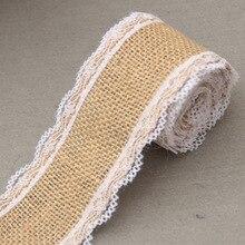 Vintage Lace Wedding DIY Decoration Party Burlap Ribbon Sisal Linen Roll Trim Jute Hessian Decor Supplies Event New 5M