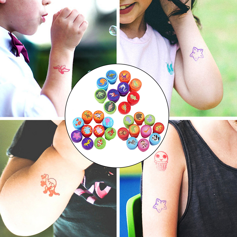 30PCS Cute Funny Cartoon Wild Marine Animals Dinosaurs Self-ink Stamps For Kids Children DIY Crafts Classroom Reward Party Favor