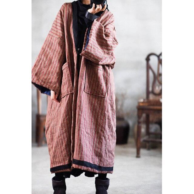 Kadın kış çizgili Parkas % 2019 pamuk keten kalın sıcak büyük boyutlu cepler uzun ceket kadın Vintage gevşek Parkas YoYiKamomo