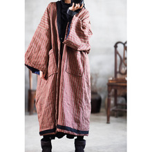 Women Winter Striped Parkas 2019 Cotton Linen Thick Warm Big Size Pockets Long Coat Women Vintage Loose Parkas YoYiKamomo