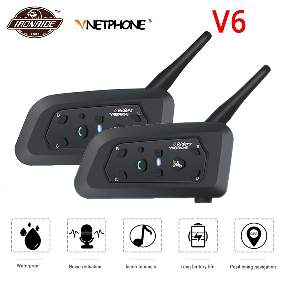 VNETPHONE 2 Set Motorcycle Intercom Bluetooth Helmet Intercom Motorcycle Helmet Speaker Wireless Headset 1200m Interphone V6