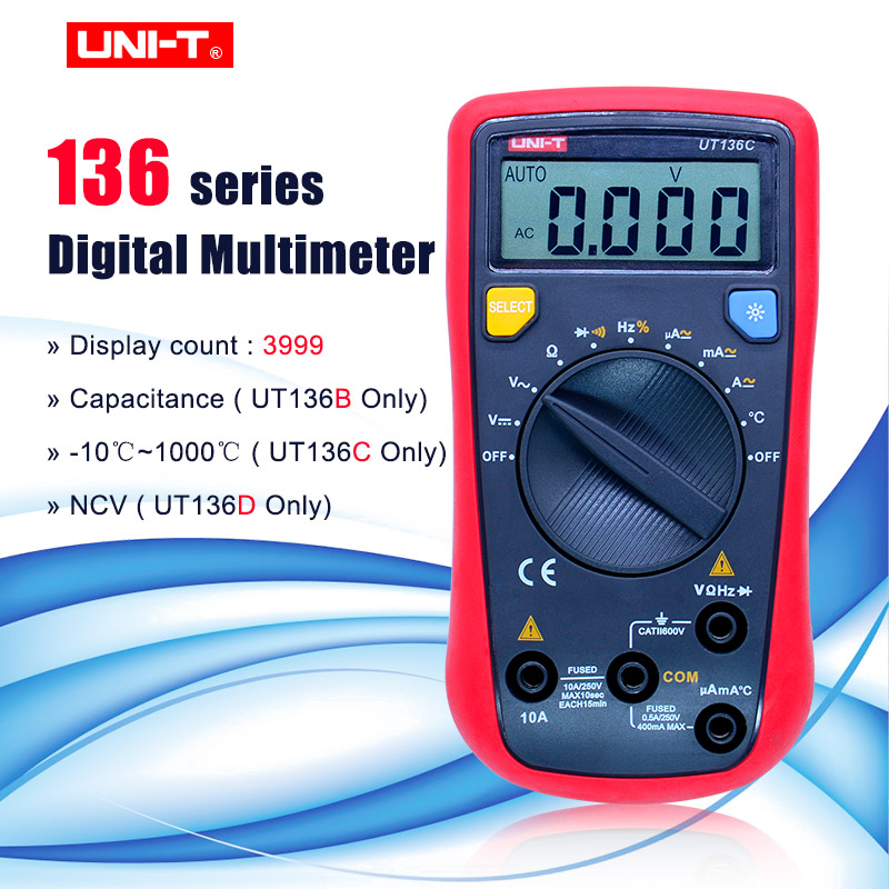 UNI-T UT136A/B/C/D Mini Digital Multimeter AC/DC Voltmeter Ammeter Multi Testers Auto Power Off with Diode HandHeld Multimeter