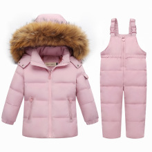 цена на Down Real Fur Hooded Duck Down Jacket for Girls Warm Kids Snow Suit Children 2-5T Coat Snowsuit Winter Clothes Boys Clothing Set