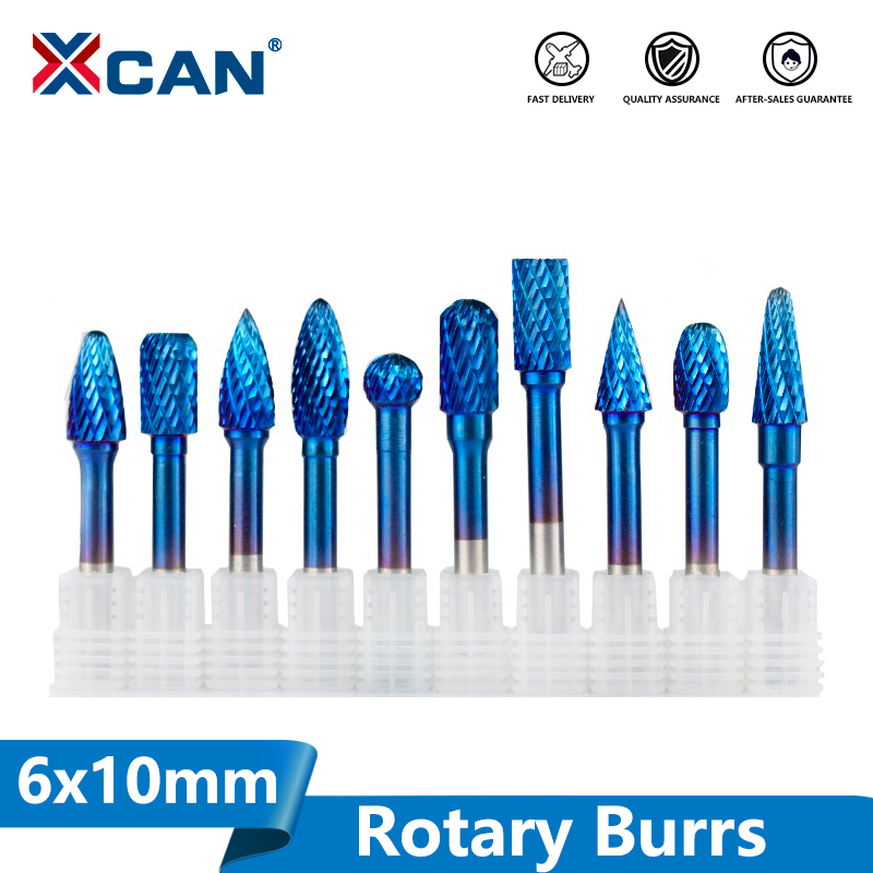 XCAN 1pc 6x10mm Tungsten Carbide Rotary Burss Super Nano Blue Coated Double Cut Rotary File