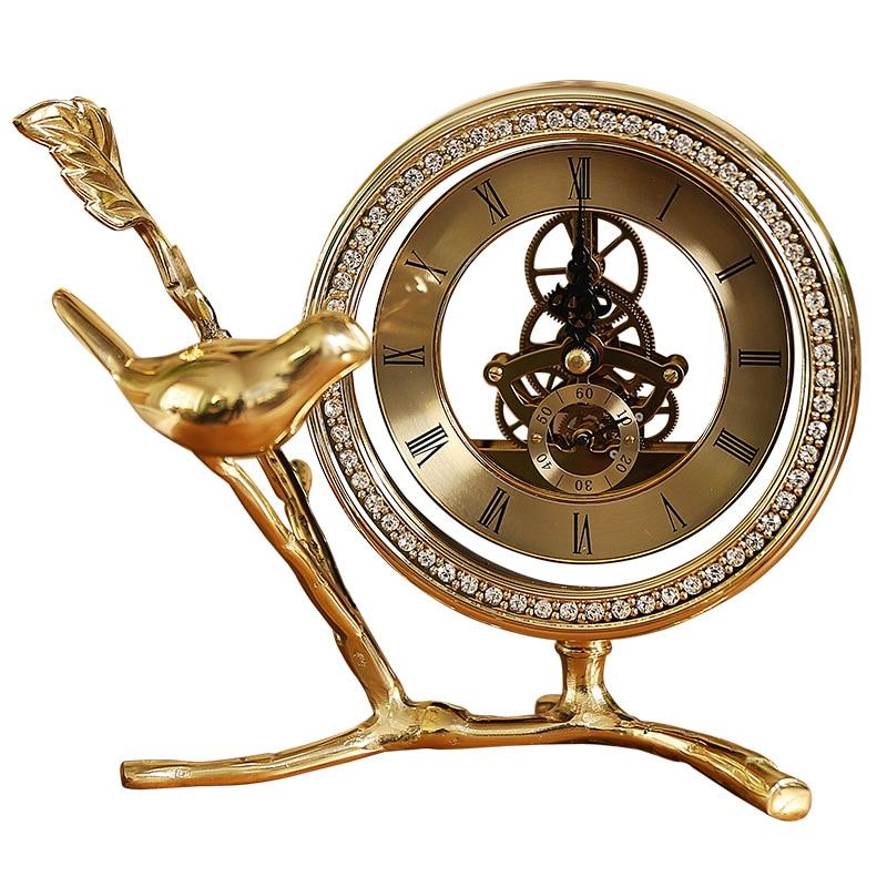 Métal numérique réveil or lit luxe grande voix réveil Design moderne Silence Relojes De Madera décor à la maison OO50AC - 6