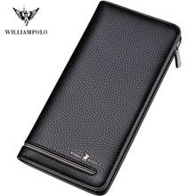 WILLIAM 2020 New fashion men long wallet genuine leather purse handbags for male luxury brand zipper Anti-Theft RFID Credit Card