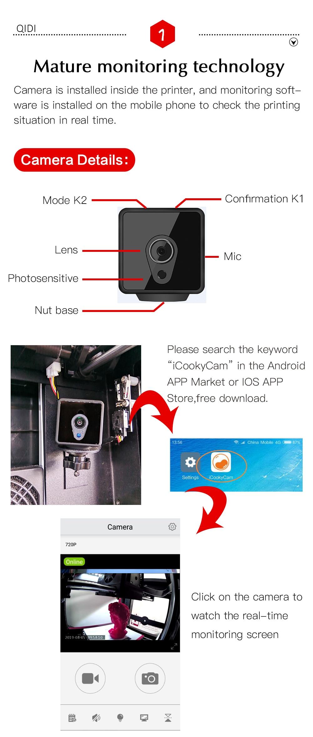 QIDI TECH X-Maker 3D Printer with Camera Wifi Touch Screen Single Nozzle Printing 9