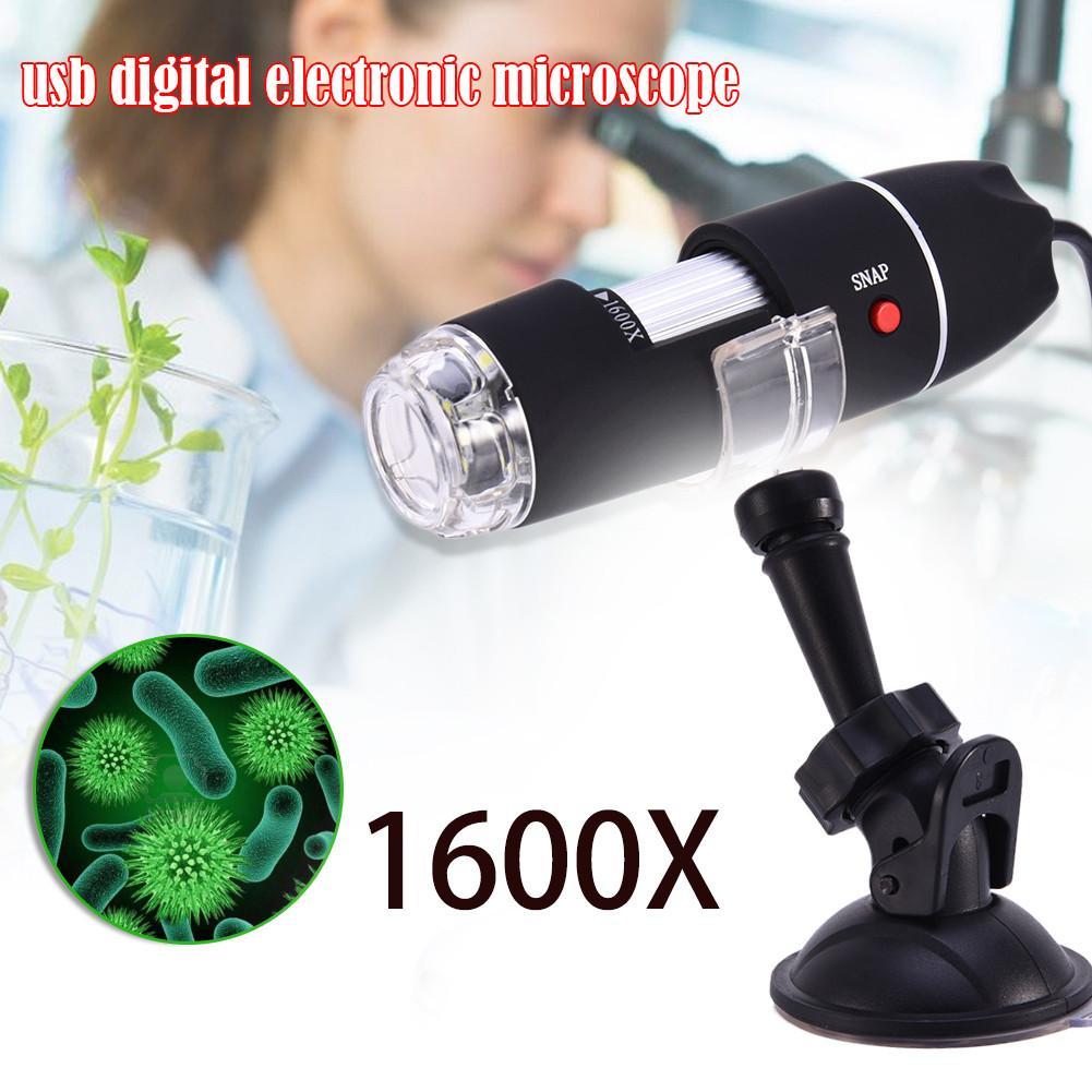 Lupa com Suporte de Metal Eletrônica para Jóias Portátil Microscópio Digital Câmera Endoscópio 8led Detecção 1600x 2-em-1 Usb