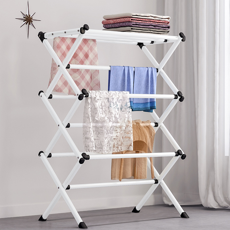 Foldable Metal Coat Rack Portable Living Room Drying Rack White Towel Shelf Clothing Rack Floor Easy Assembled Clothes Hanger