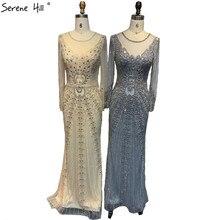 Champagne Dubai Luxury Mermaid Evening Dresses Long Sleeves Diamond Beading Formal Dress 2020 Serene Hill LA70443