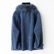 Abrigo de piel Real 2020, chaqueta de lana con Cuello de piel de zorro, abrigo de Otoño Invierno, ropa de mujer, Tops Vintage de oveja vaporosa para mujer