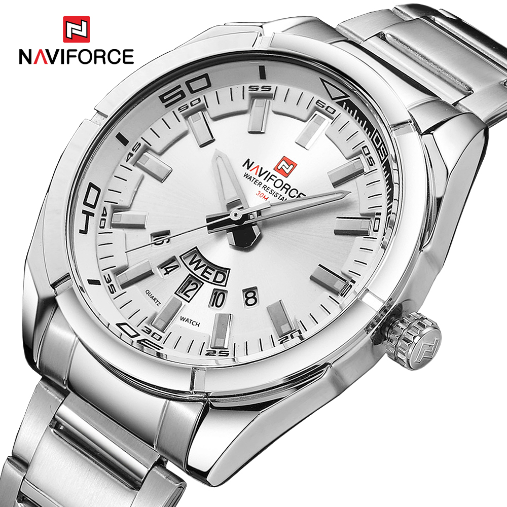 NAVIFORCE Brand Men Watches Full Steel Waterproof Casual Quartz Date Clock Top Brand Luxury Men's Wrist Watch Relogio Masculino