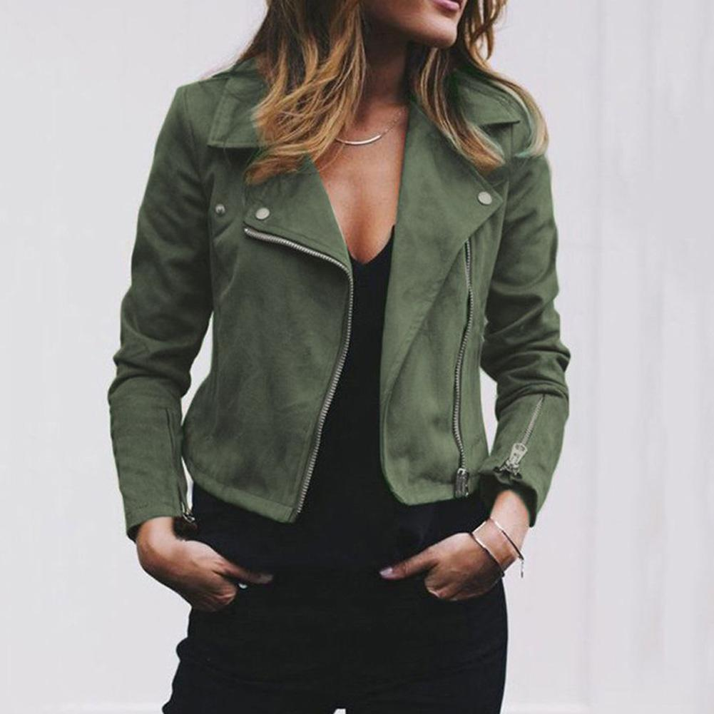 Fashion Punk Plus Size Women Jackets Coat Solid Color Slim Fits Long Sleeve Lapel Zipper Streetwear For Women Short Jacket Coat